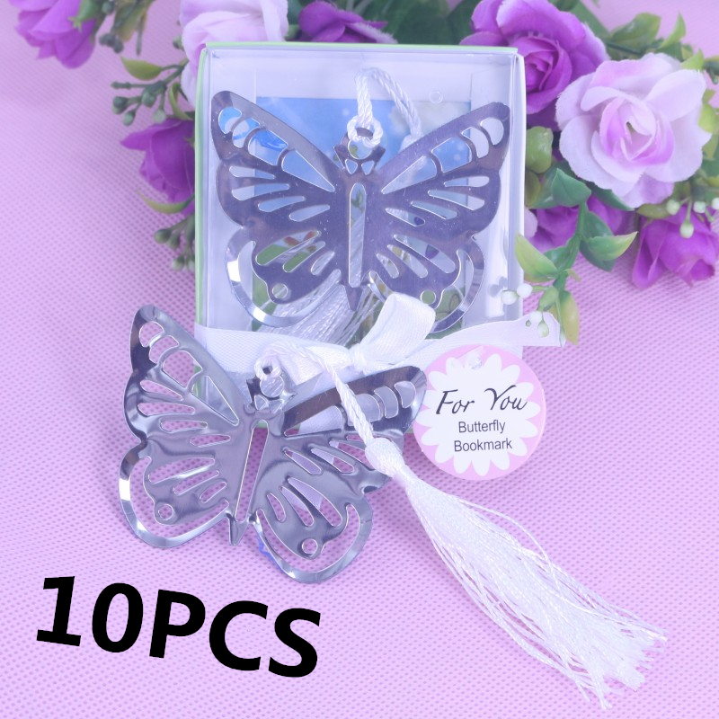 10PSC Butterfly Metal Bookmarks Baby Shower Souvenirs Girl Birthday Keepsake Party Giveaway Wedding Favors and Gifts For Guest
