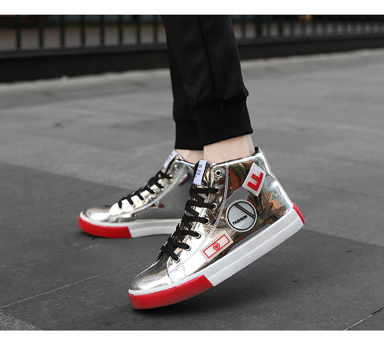 2018 Men leather casual shoes hip hop Gold fashion sneakers silver microfiber high tops Male Vulcanized shoes sizes 46 7