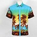 Гавайская Рубашка мужская С Коротким Рукавом Летом Пляжная Одежда Clothing Полиэстер Quick Dry Тропических Печатных Фантазии Рубашки Camisa Masculina