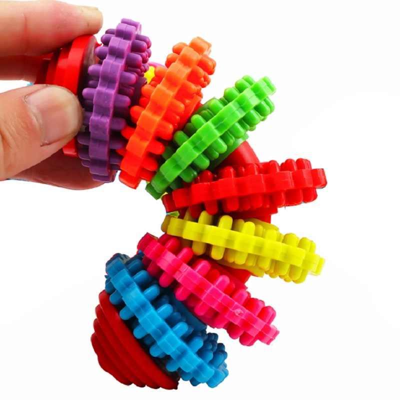 การจำลองความคิดสร้างสรรค์เกียร์สายรุ้งสัตว์เลี้ยงสุนัข Interactive Chew ของเล่นสุนัข Puppy เล่นลูกยางสัตว์เลี้ยงของเล่นสุนัข Anti-Bite การฝึกอบรมของเล่นของขวัญ