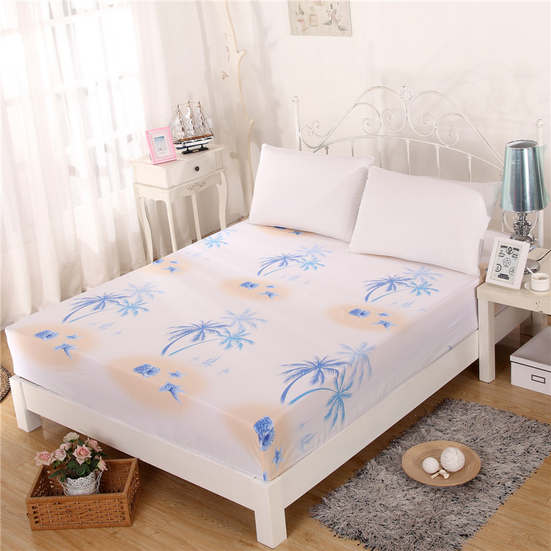 coconut tree printed breathable 100 cotton bed fitted sheet full queen size 150x200cm 180x200cm. Black Bedroom Furniture Sets. Home Design Ideas
