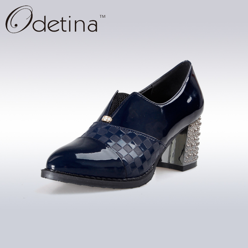 Odetina Spring&Autumn Women Chunky Heel Booties Slip on Patent Leather Bullock Shoes Pointed Toe Patckwork Fashion Women Shoes odetina fashion women pointed toe rivets loafers 2017 spring