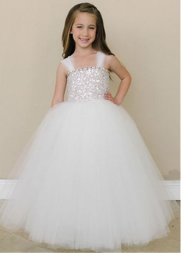 Princess White Long Flower Girl Dresses For Weddings With Rhinestone Lace Up girl party dress