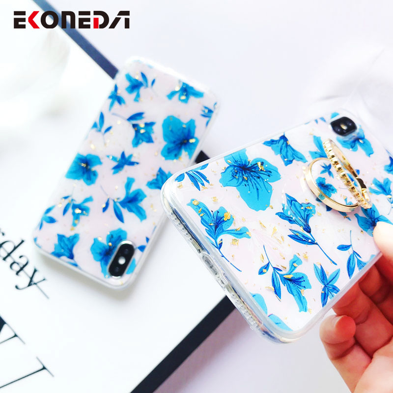 EKONEDA Gold Foil Floral Leaves Case For iPhone XR Case Finger Ring Cover Metal Stand Case For iPhone 7 6S 8 Plus X XS Max in Fitted Cases from Cellphones Telecommunications