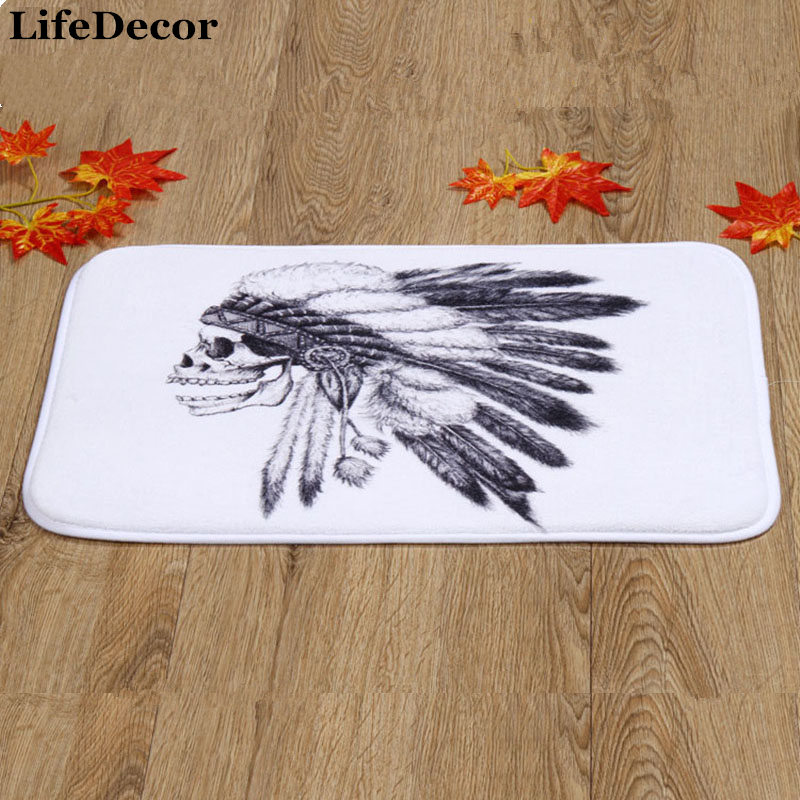 Skull Print Door Mat Floor Carpet 40x60cm/15.6x23.6 Coral Fleece Rug Doormat For Hallway Non-slip 1PCS
