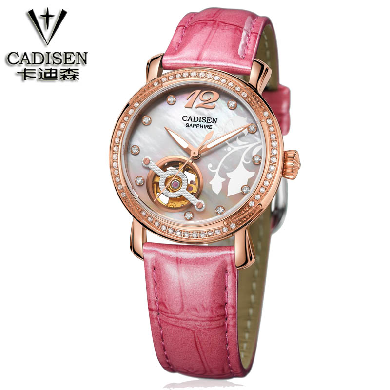 cadisen Brand Woman watches Fashion Ladies Crystal Clock Luxury Women Rhinestone Diamond Watch Leather automatic machinery
