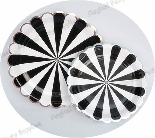 80pcs Dusty Black Striped Disposable foil Silver Scallop Paper Plates Paper Napkin Cups for Birthday Party  sc 1 st  AliExpress.com : black and white striped paper plates - Pezcame.Com