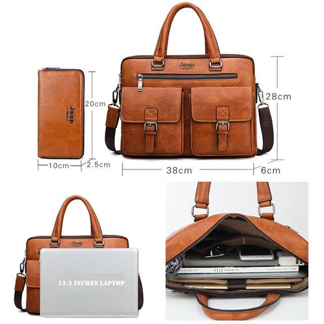 JEEP BULUO Marca Briefcase Bag 2 Man'sBusiness pçs/set Dividir Couro de Alta Qualidade Dos Homens Sacos De escritório Para 13. 3 polegadas portátil a4 causel 2