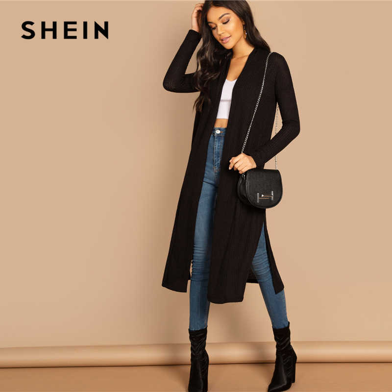 d6936fab185a ... SHEIN Black Split Side Longline Plain Long Sleeve Cardigan Women  Outerwear Coat 2019 Spring Cotton Casual ...