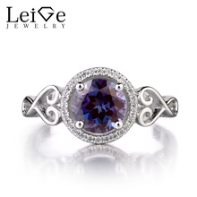 Leige Jewelry Alexandrite Solid 925 Silver Ring Round Cut Fine Gemstone June Birthstone Promise Wedding Rings Gift for Women