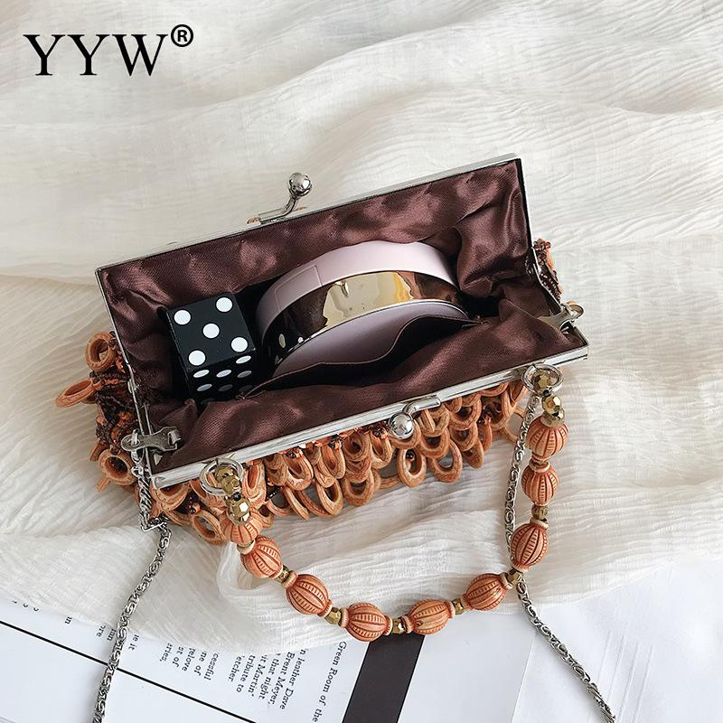 Black Beads Clutch Bag Vintage Handbag With Chain Wedding Tote Clutches Shoudler Bags Dumplings Purse Mini Sequin Evening Party in Top Handle Bags from Luggage Bags