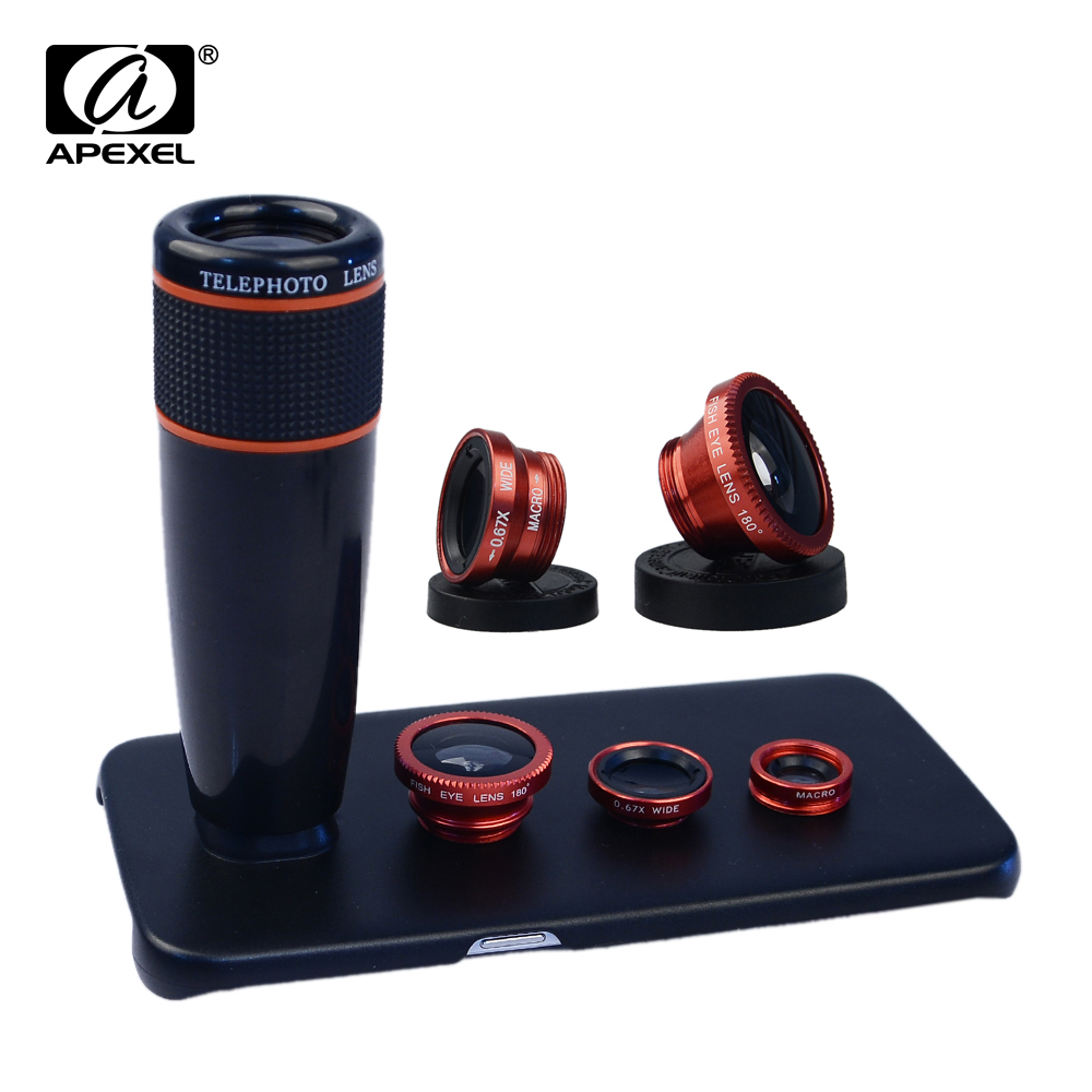 Цена за Apexel Камера объектив 12X телефото зум-объектив и Fisheye ленте и широкий угол и макро объектив для Samsung Galaxy S6 Edge Plus S6 5 4 3 12x85
