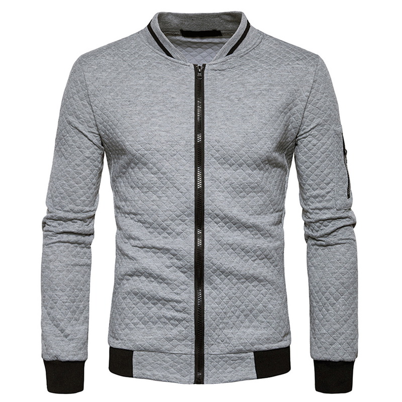 HTB1i9eaJGSWBuNjSsrbq6y0mVXai Laamei Men's Veste Homme   Argyle Zipper Jacket Casual Jacket 2019 Autumn New Trend White Fashion Men's Jackets Clothes