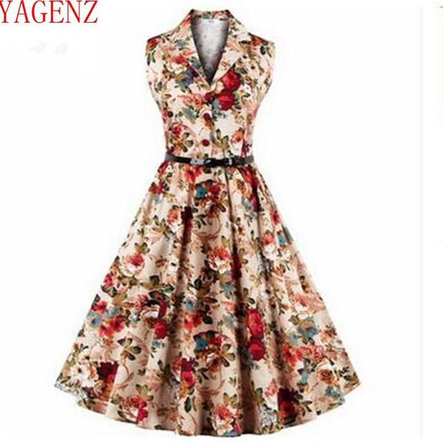 6061cd080317 2017Summer clothes retro womens fashion new printing large size Dress with  belt sleeveless high quality dresses KG131 YAGENZ