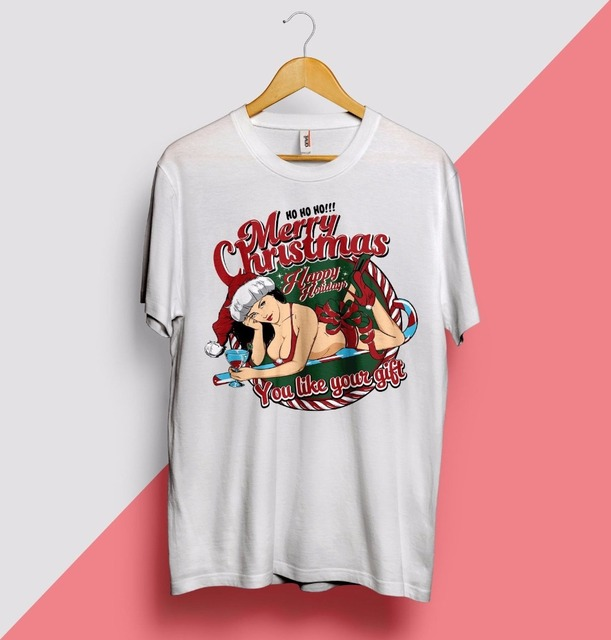 43cc1b55d50 Newest 2018 Men s Fashion Sexy Christmas T Shirt Girl Hot Naughty Santa  Claus Helper Elf Swag Homies Funny Cotton Tee