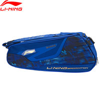 Li Ning Badminton Racket Bag Essentials Polyester 6 pack Professional Sports Athletic Racquet Bag ABJN072 ZYF324