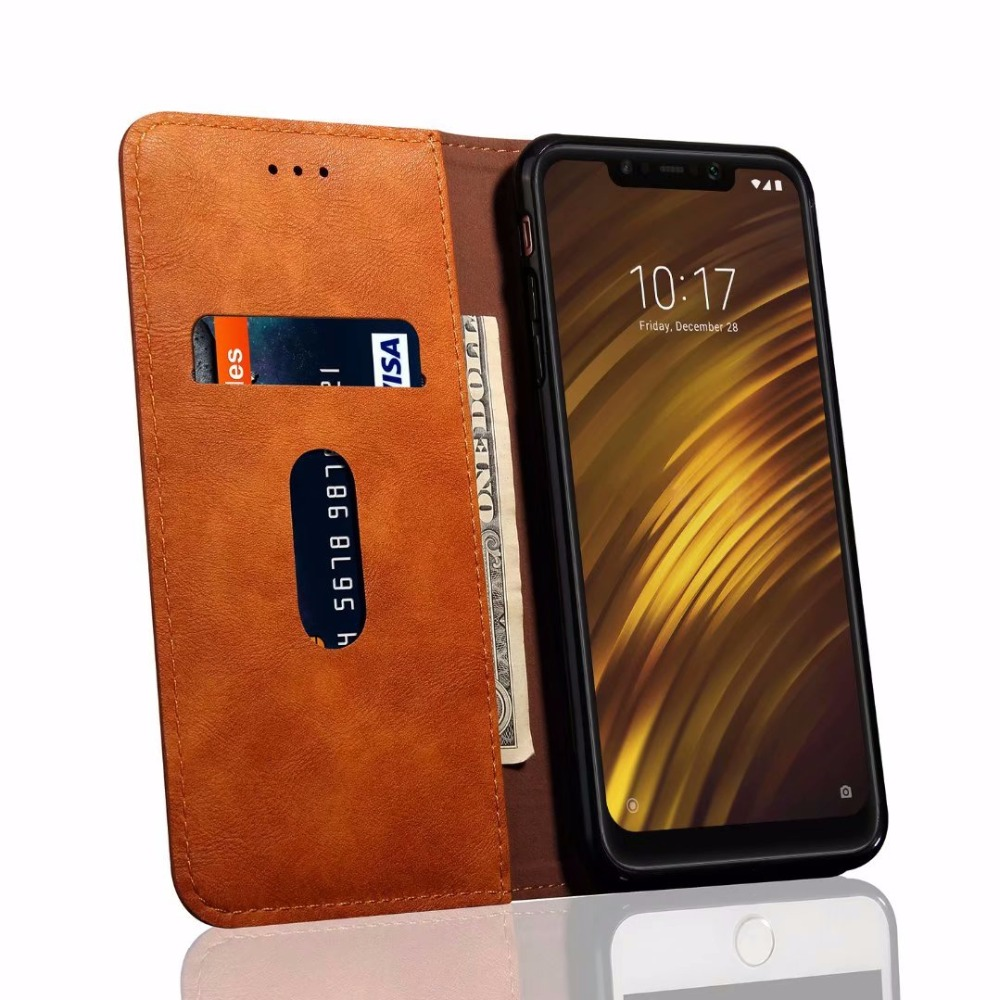 Luxury High Quality Vintage Leather Flip Cover Wallet Case For Xiaomi Pocophone F1 Poco F1 in Wallet Cases from Cellphones Telecommunications