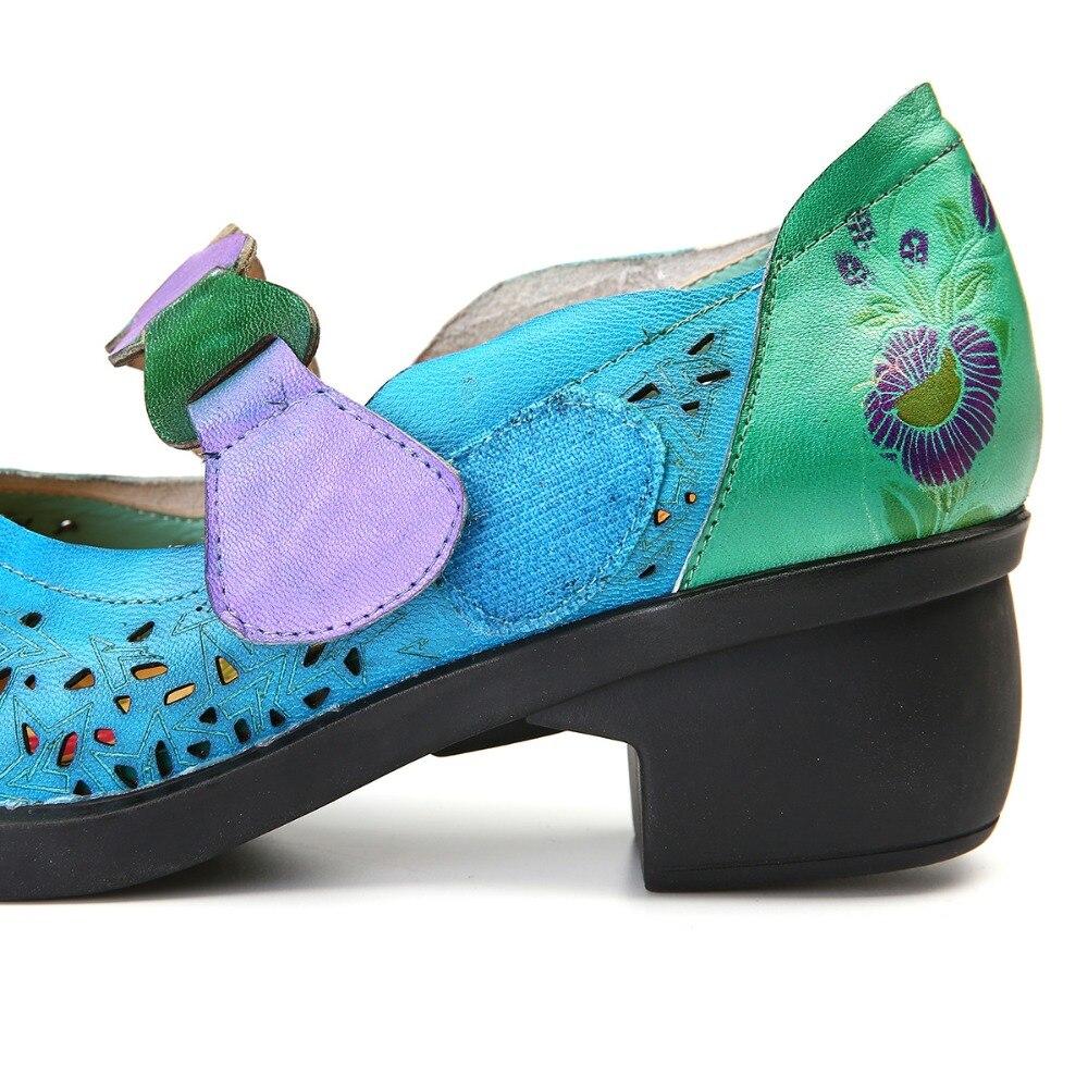 MStacchi printemps été évider femmes chaussures simples femme rétro confort bas talons peu profond bohème véritable cuir femme pompes-in Escarpins femme from Chaussures    3