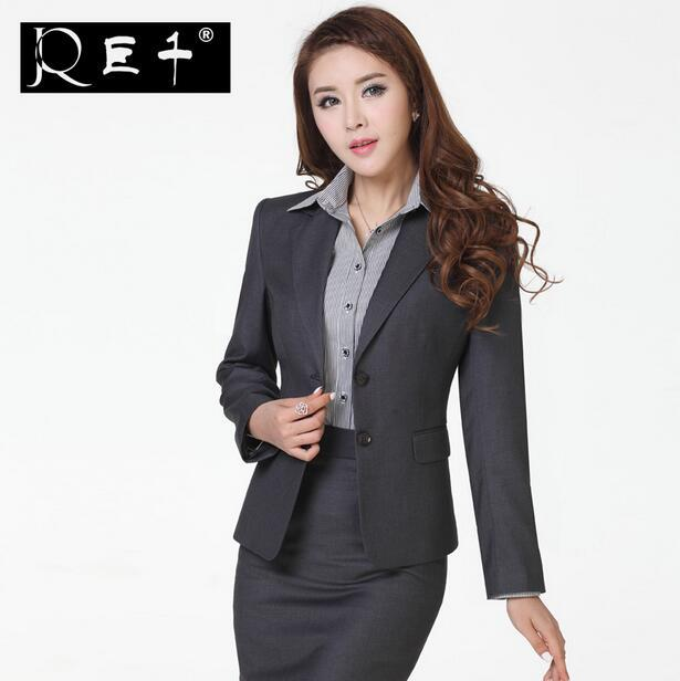 Wool Fabric Formal Blazer Women Skirt Suits Work Wear -7726