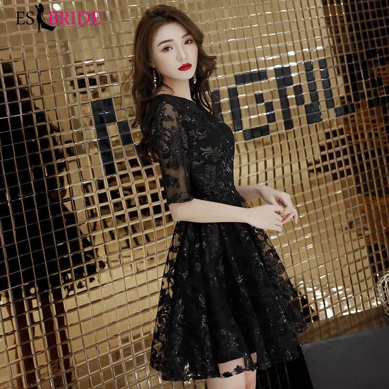 Robe formelle de soirée femmes robe noire élégante femmes robe de soirée Sexy robes d'occasion spéciale robe de luxe robe en cristal ES2365