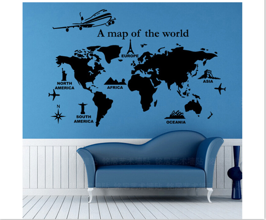 World map personalized drawing room vinyl wallpaper diy wall decals world map personalized drawing room vinyl wallpaper diy wall decals english quotes painting wall art bedroom decor wall stickers in wall stickers from home gumiabroncs Images