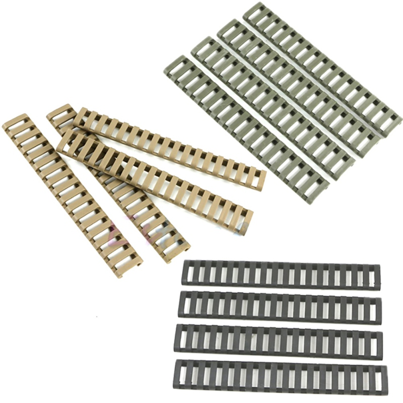4pcs Rail Cover Plastic Fish Bone Ladder Shape 3 Colors Rifle Handguard Heat Resistant Ladder Rubber Picatinny Rail Covers
