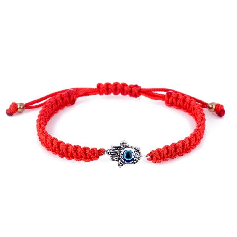 Handmade Braided Rope Bracelets Red Wire Blue Eye Charm Bracelets Bring You Luck Peaceful Bracelets Adjustable Length