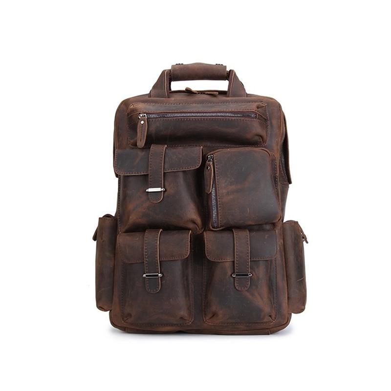 ROCKCOW Handmade Vintage Leather Backpack, Travel Backpack B827 rockcow handcrafted vintage style top grain leather backpack travel backpack unisex backpack 8904