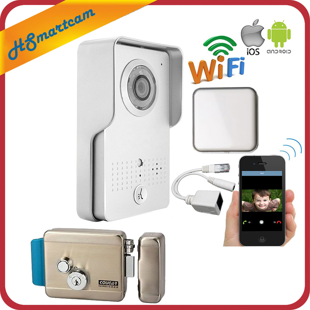 Outdoor Wireless Wifi IP Doorbell Camera for Android IOS Phone Remote View Unlock Video Intercom + Indoor Ringer+Electric lock free shipping outdoor rfid access wireless wifi doorbell camera video intercom for smartphone remote view unlock strike lock