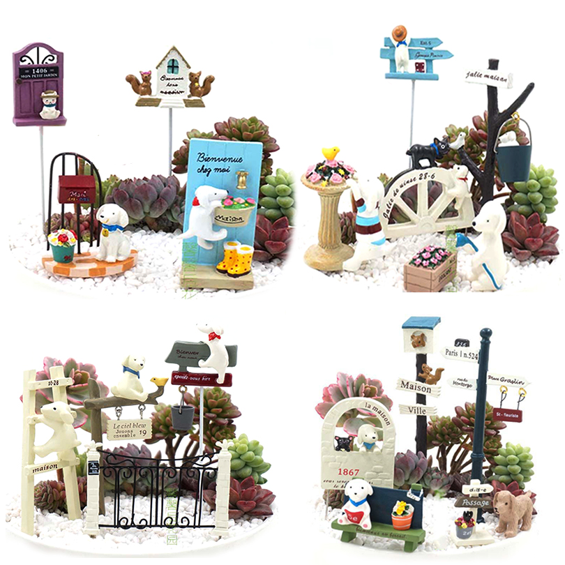 Zakka Resin Mini Dog Cat Puppy Bonsai Miniature Figurines Flowerpot Terrariums Toys Garden Stands Decoration Animal Ornaments