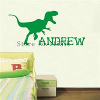 E312 Dinosaur Gift Personalised Custom name Wall Stickers Home decor DIY poster Vinyl Decal Nursery for kids Room