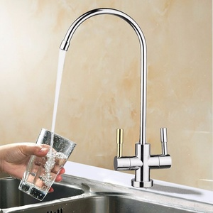Image 2 - 1/4 Chroom Drinken Ro Water Filter Kraan Rvs Afwerking Omgekeerde Osmose Spoelbak Keuken Dubbele Gaten Water Intake