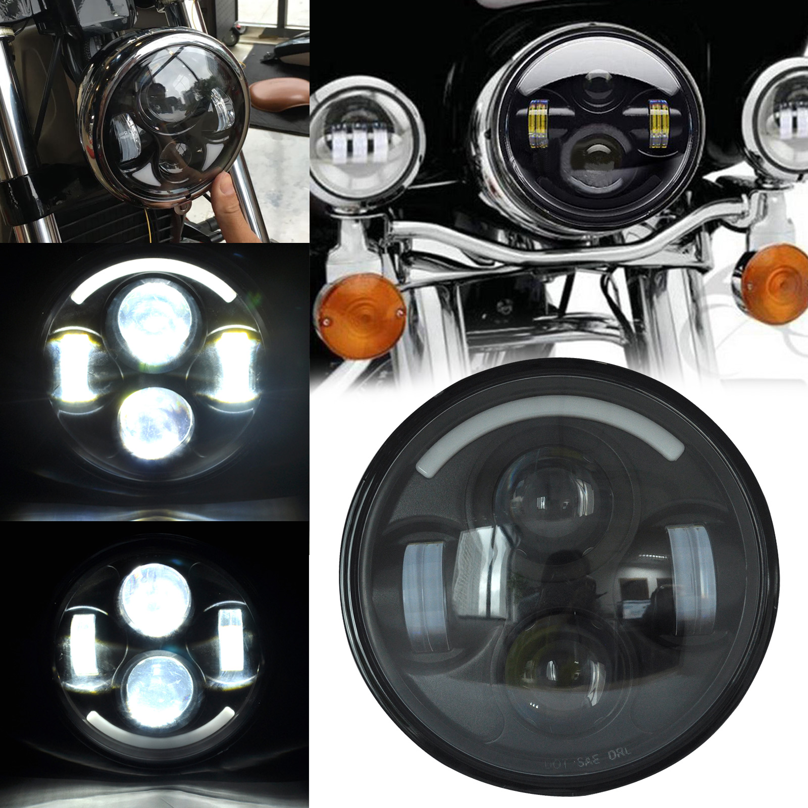 5.75 5-3/4 Motorcycle Black Projector Daymaker Hi/Lo HID LED Headlight for Harley 5 75 led motorcycle headlight projector daymaker drl lights for harley 5 3 4