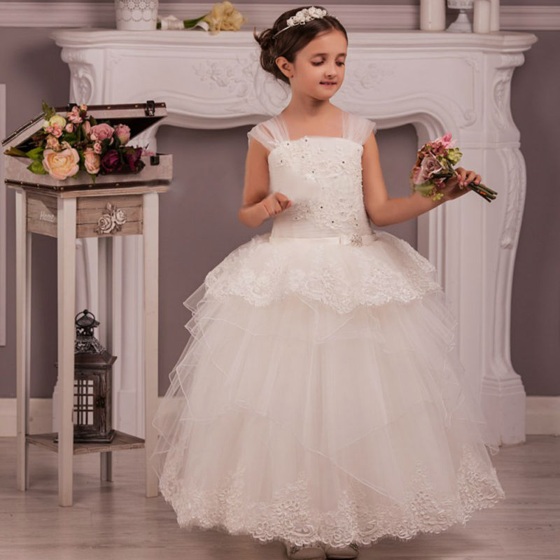 Mother Daughter Dresses White Flower Girls Dresses for Wedding Holy Communion Dresses Ball Gown Girls Pageant Dresses new spring pretty flower girls dresses tulle communion gown ball gown mother daughter dresses lace holy communion dresses