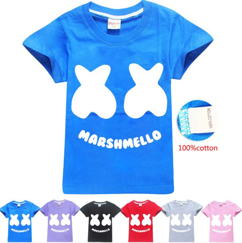Impartial Dj Marshmello Kids Hoodie Sweatshirts Summer Top Modis Cartoon Print T-shirt For Girls Boys A686 Sophisticated Technologies