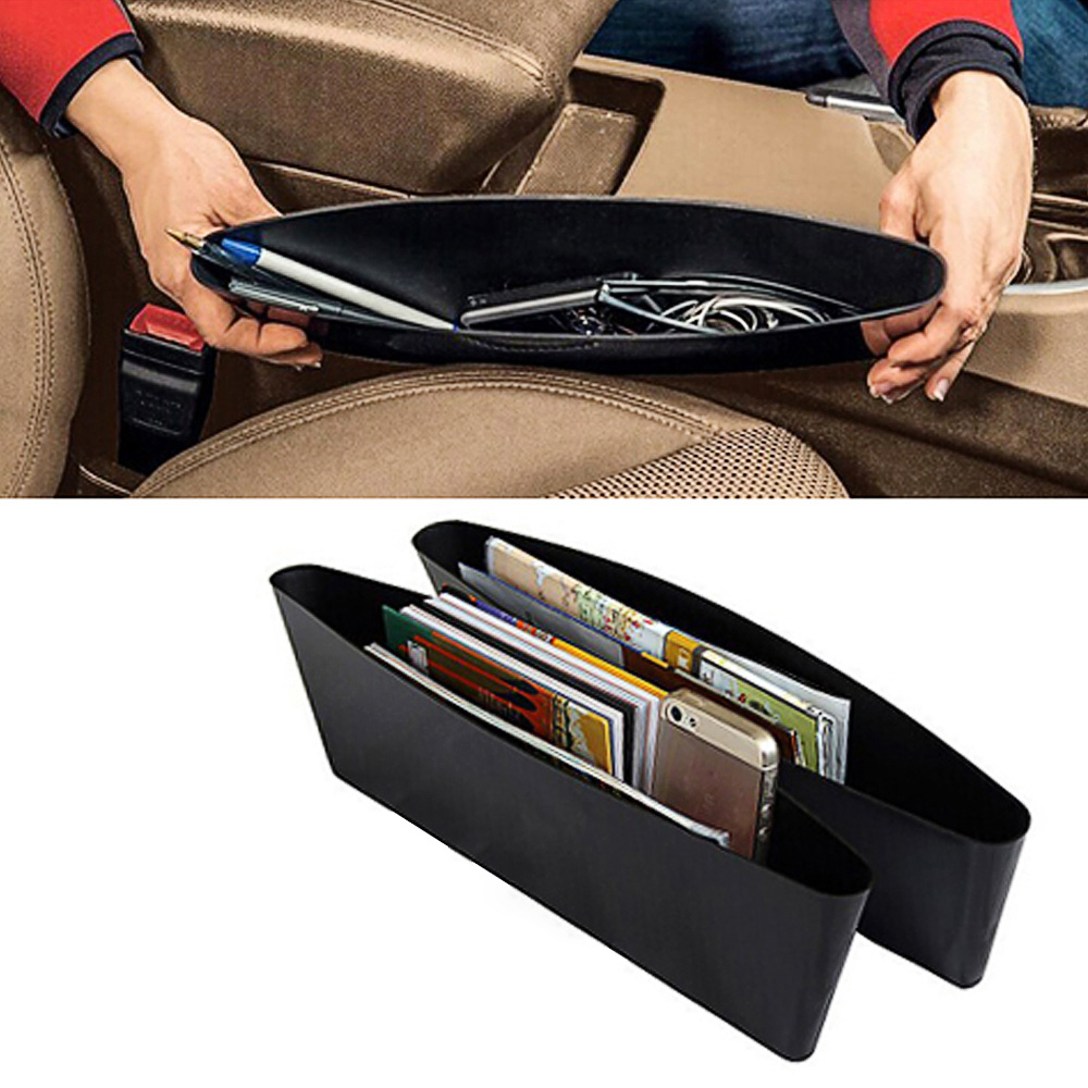 CARCHET 2X Car Seat Pockets Catch Catcher Storage Organizer Box Caddy Car Shelf Seat Slit Pocket Storage Bag Seat Gap Store Box 2