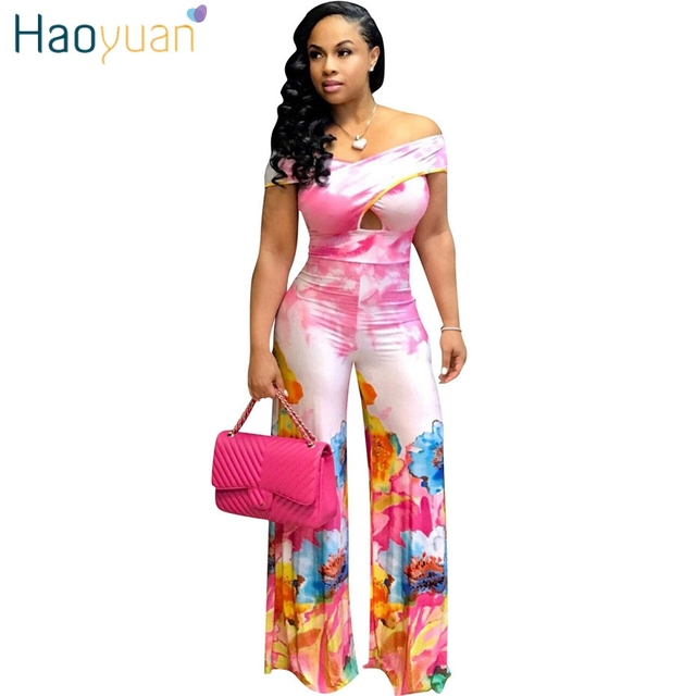 2b6228c327e6 HAOYUAN Tie Dye Floral Print Off Shoulder Sexy Wide Leg Jumpsuit Body Femme  Summer Overalls One Piece Rompers Women Jumpsuit