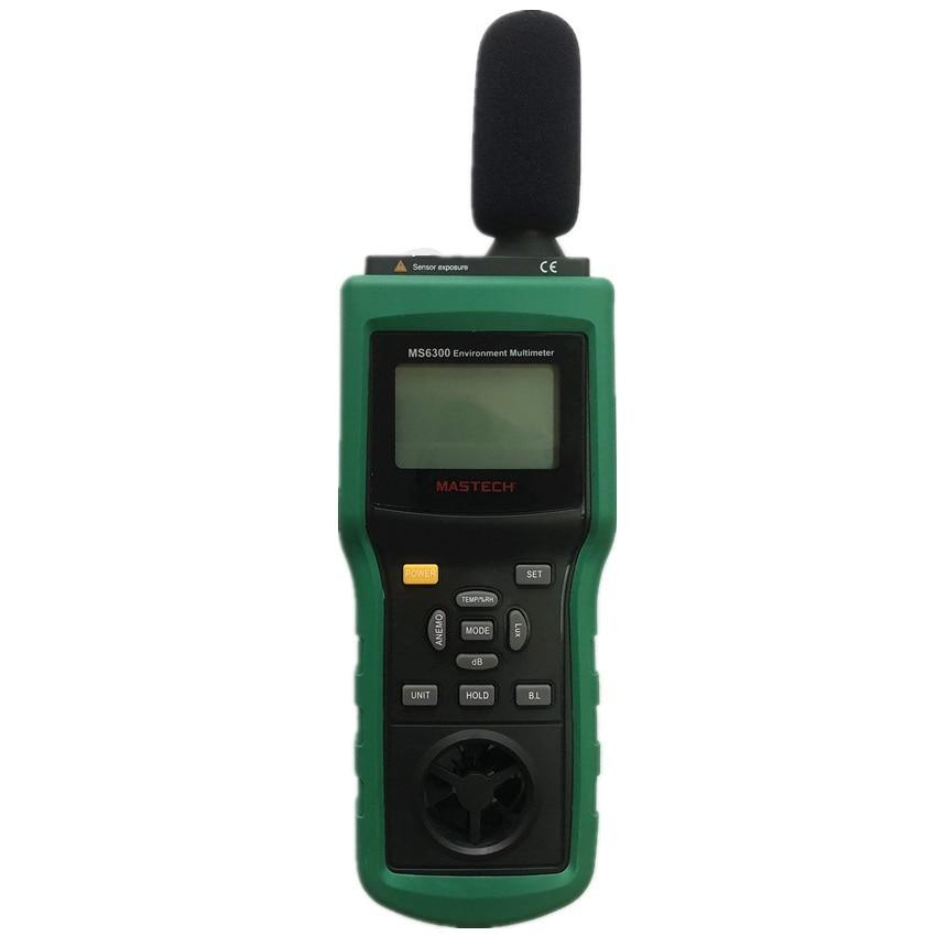 MASTECH MS6300 цифровой многофункциональный, окружающая среда метр Температура влажности уровень звука воздушного потока метр Люксметр Анемометр