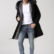 Длинные натуральная природный натуральный мех пальто зимняя куртка для мужчин или женщин парка с воротником из меха енота с капюшоном стеганая куртка высокого качества
