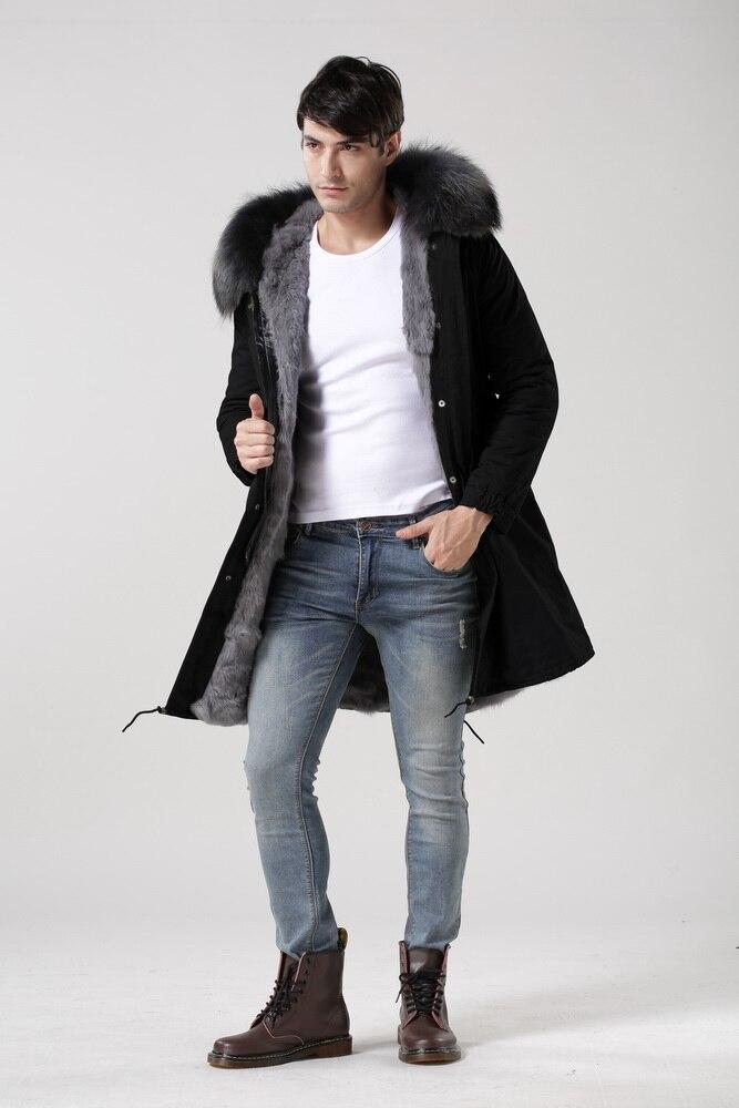 2016 longue véritable naturel réel manteau de fourrure d'hiver veste hommes ou femmes parkas raton laveur col de fourrure à capuchon rembourré veste Haute qualité