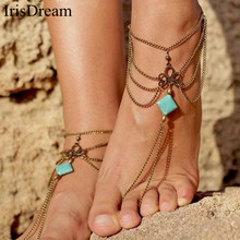 Vintage Bohemian Bijoux Gold Multi Layer Tassel Anklets Foot Chain Ankle Bracelet Beach Barefoot Sandals Body Anklet Jewelry