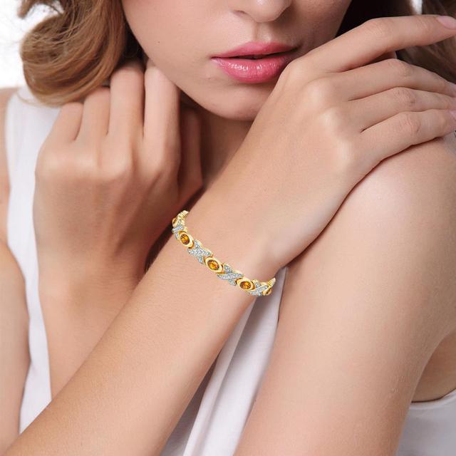 Trendy Magnetic Bracelet with 2-Tone Color Orange Cateye Stones