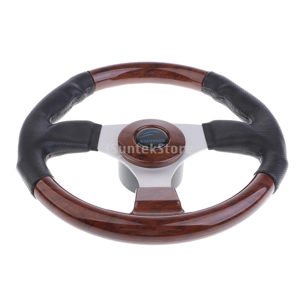 Universal 320mm PVC Leather Racing Car Steering Wheel w/ Horn Button Wooden momo pai car styling steering wheel concave peach wood mahogany competitive racing retro abs universal steering wheel