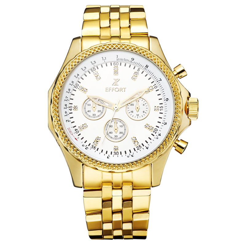 EFFORT Gold Watch Top Brand Luxury Men Full Steel Watches Chronograph 6 Hands 24 Hours Military