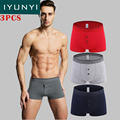 IYUNYI 3 Pcs/Lot Men's Underwear New Men's Button Open Front Boxer Shorts Underwear Pants Cotton Shorts Soft Men's Underwear