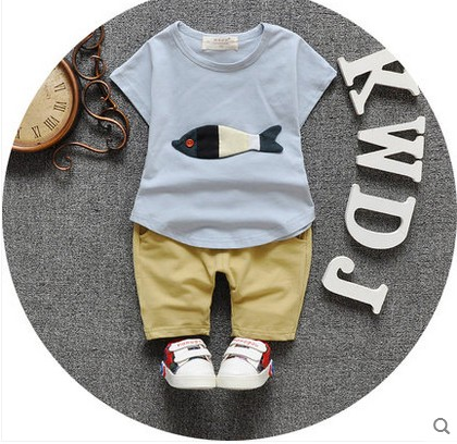 The new 2016 children's summer wear boys girls infant children's clothing short sleeve suit a 0-1-2-3-4