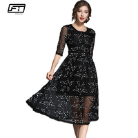 Fitaylor 2018 Summer Mesh Embroidery Flora Lace Dress Women Hollow Out Sexy Clun Evening Party Dressess Fashion Vestidos Mujer