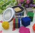 5mm 216 unids neo cube cubo mágico puzzle metaballs bolas magnéticas con la caja de metal imán neo cubo mágico toysgift navidad