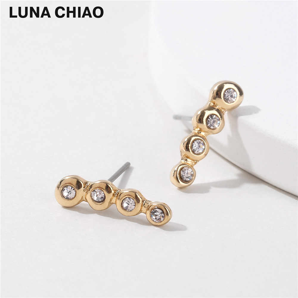 LUNA CHIAO Mode Trendy Crawler Logam Kristal Ear Stud Earrings untuk Wanita