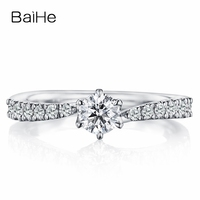 BAIHE Solid 10K White Gold(AU417) About 0.25ct Certified Round Moissanite Engagement Wedding Women Trendy Fine Jewelry Gift Ring